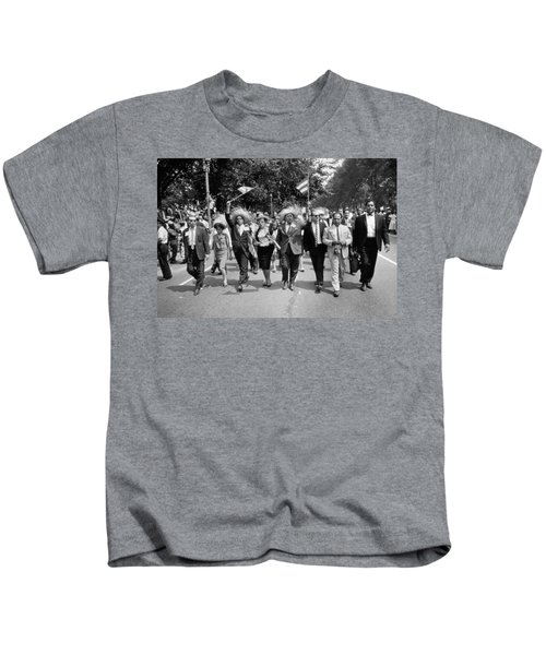 Marchers Wearing Hats Carry Puerto Rican Flags Down Constitution Avenue Kids T-Shirt