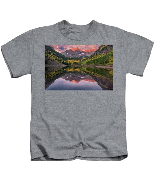 Maroon Bells At Sunrise Kids T-Shirt