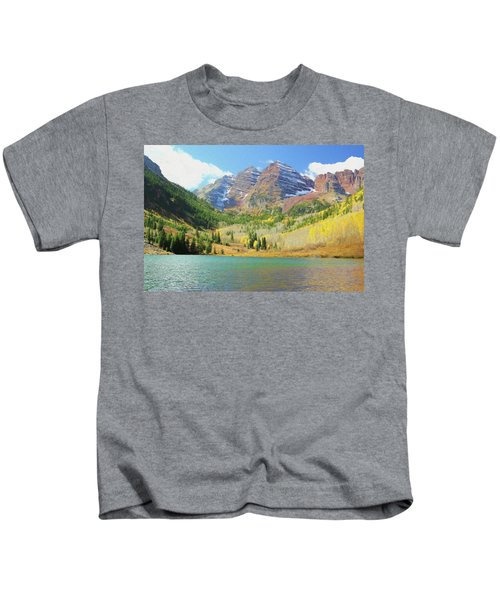 The Maroon Bells Reimagined 2 Kids T-Shirt