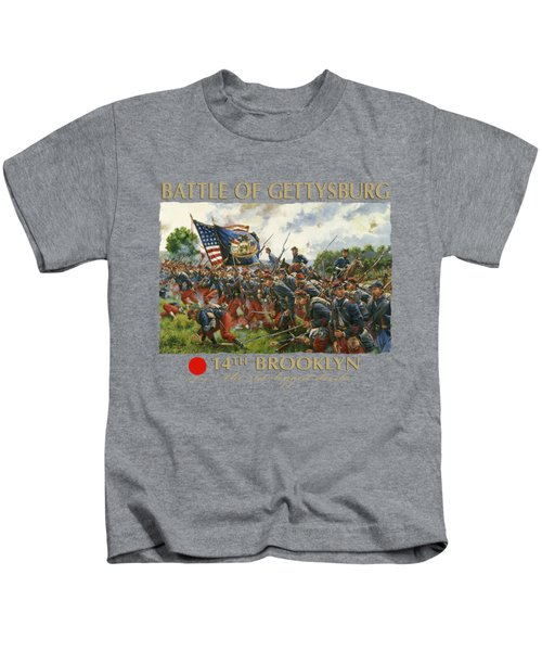 Men Of Brooklyn - The 14th Brooklyn 14th N.y.s.m. Charge On The Railrad Cut - Battle Of Gettysburg Kids T-Shirt