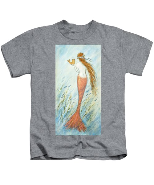 Mermaid And Her Catfish, Goldie Kids T-Shirt by Tina Obrien