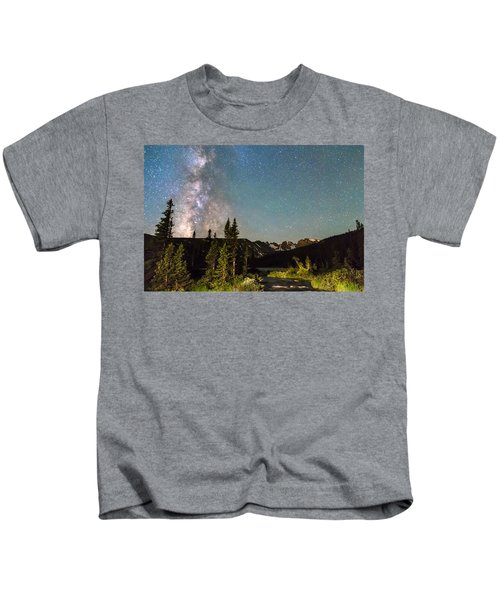 Milky Way Magic Above Longs Lake And The Indian Peaks Kids T-Shirt
