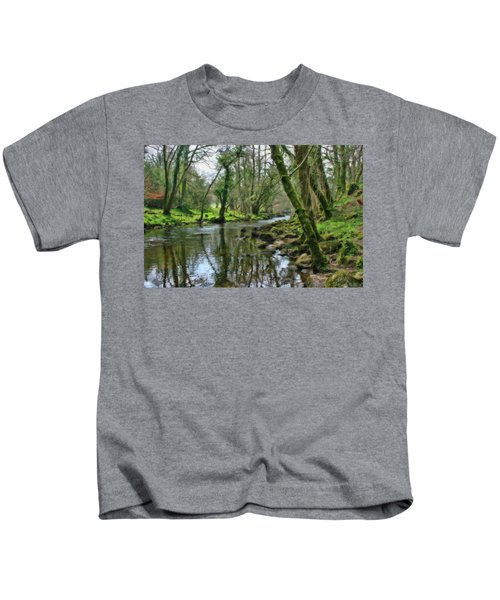 Misty Day On River Teign - P4a16017 Kids T-Shirt