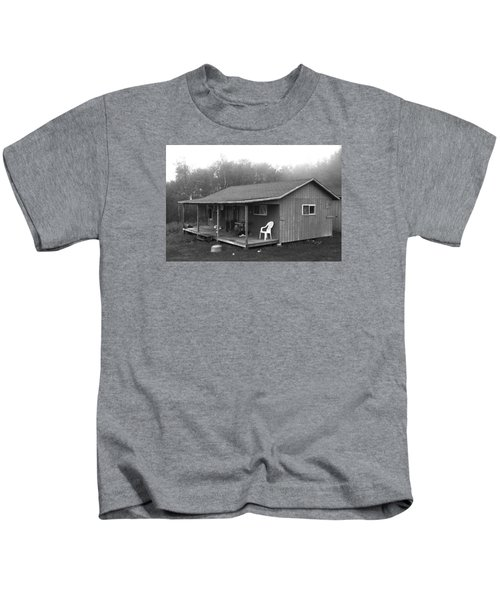 Misty Morning At The Cabin Kids T-Shirt