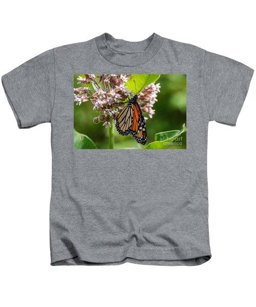Monarch On Milkweed Kids T-Shirt