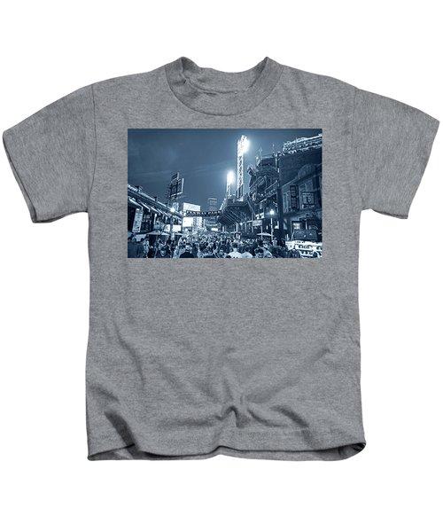 Monochrome Blue Nights Boston Ma Lansdowne St Fenway Park Game Night Kids T-Shirt