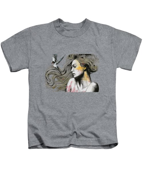 Monument - Long Hair Girl With Bird And Skyline Tattoo Kids T-Shirt