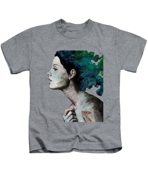 Moral Eclipse - Colorful Hair Woman With Moths Tattoos Kids T-Shirt