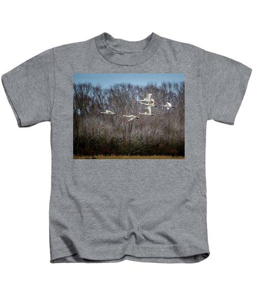 Morning Flight Of Tundra Swan Kids T-Shirt