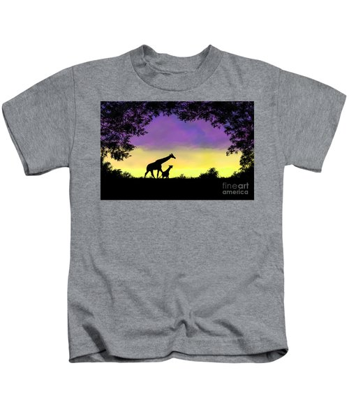 Mother And Baby Giraffe At Sunset Kids T-Shirt