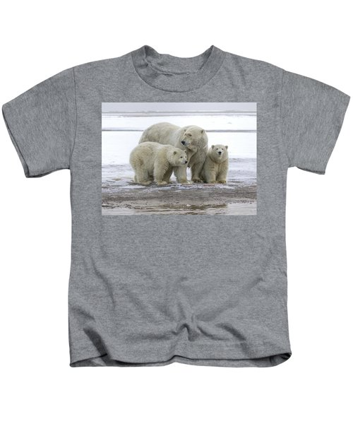 Mother And Cubs In The Arctic Kids T-Shirt