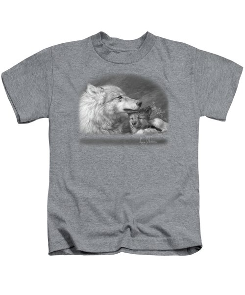 Mother's Love - Black And White Kids T-Shirt by Lucie Bilodeau