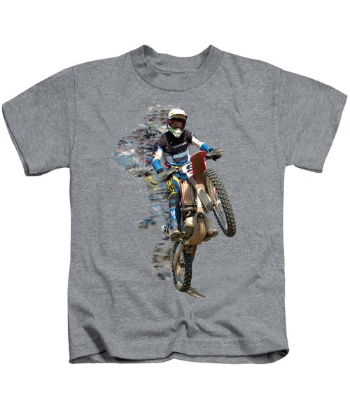 Motocross Rider With Flying Pieces Kids T-Shirt