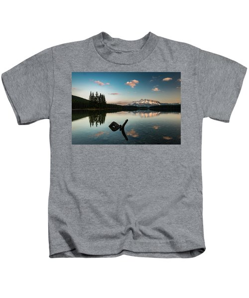 Mount Rundle And Two Jack Lake Kids T-Shirt