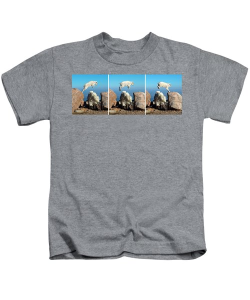 Mountain Goat Leap-frog Triptych Kids T-Shirt
