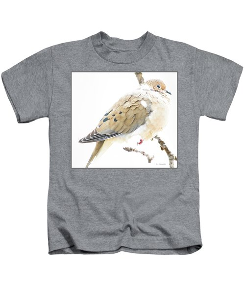 Mourning Dove, Snowy Morning Kids T-Shirt