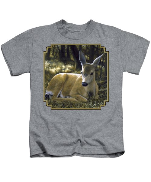 Mule Deer Fawn - A Quiet Place Kids T-Shirt by Crista Forest