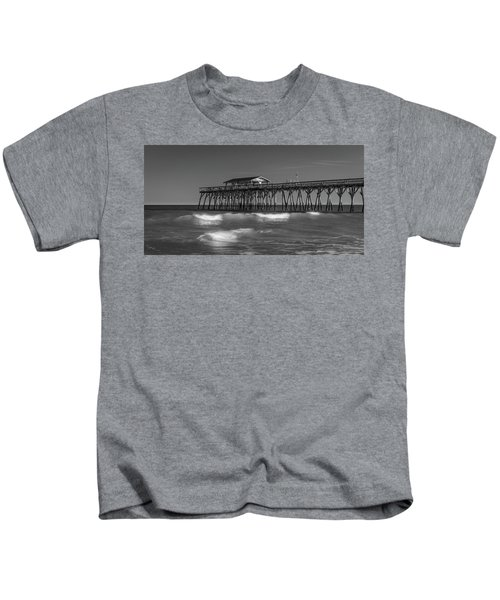 Myrtle Beach Pier Panorama In Black And White Kids T-Shirt