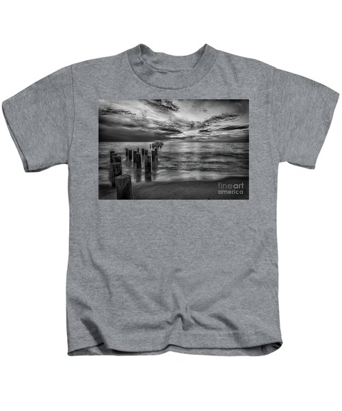Naples Sunset In Black And White Kids T-Shirt