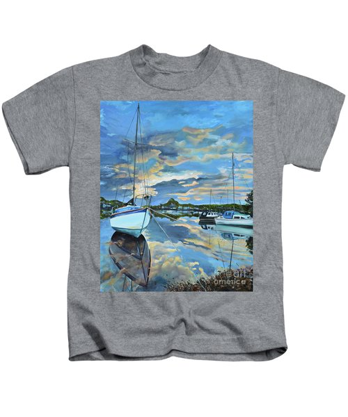 Nestled In For The Night At Mylor Bridge - Cornwall Uk - Sailboat  Kids T-Shirt