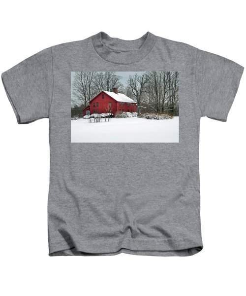 New England Colonial Home In Winter Kids T-Shirt