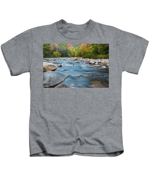 New Hampshire Swift River And Fall Foliage In Autumn Kids T-Shirt