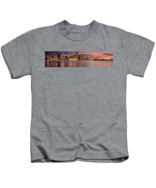 New Orleans Skyline At Dusk Kids T-Shirt