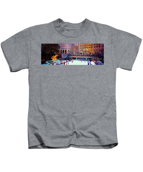 New York City Rockefeller Center Ice Rink  Kids T-Shirt