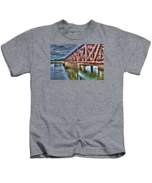 Newburyport Train Trestle Painterly Kids T-Shirt