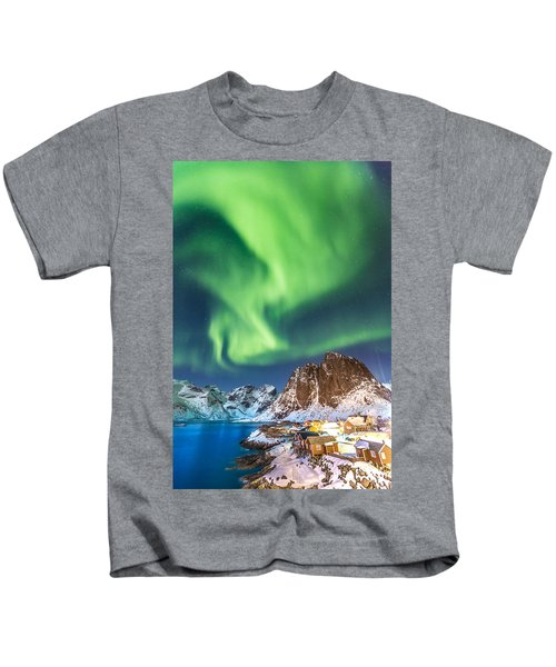 Northern Lights In Hamnoy Kids T-Shirt