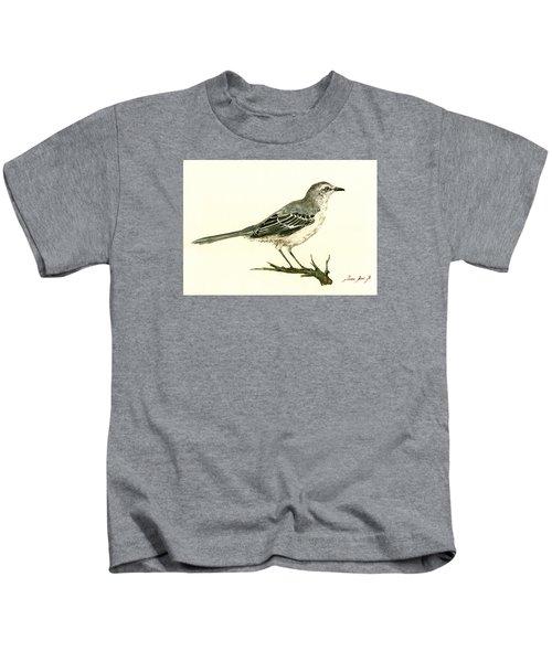 Northern Mockingbird Kids T-Shirt by Juan  Bosco