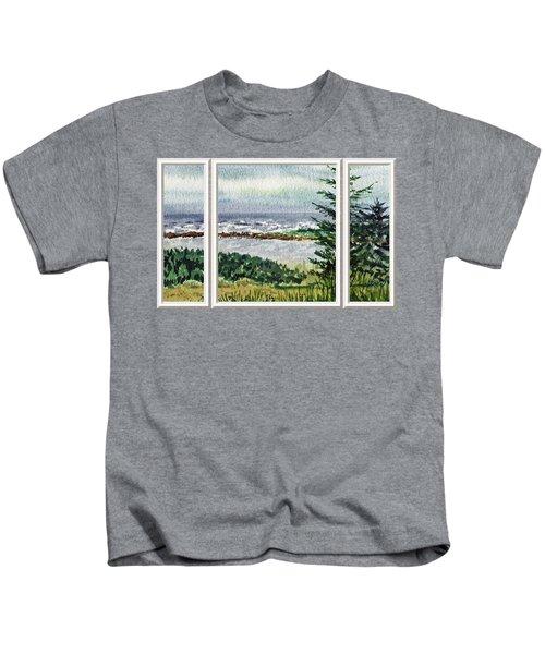 Ocean Shore Window View Kids T-Shirt