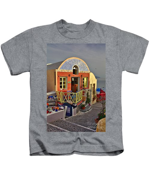 Kids T-Shirt featuring the photograph Oia Pub by Jeremy Hayden