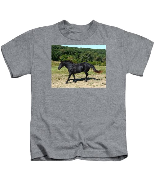 Old Black Horse Running Kids T-Shirt