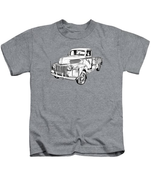 Old Flat Bed Ford Work Truck Illustration Kids T-Shirt