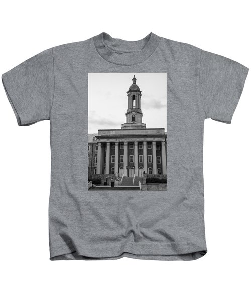 Old Main Penn State Black And White Kids T-Shirt by John McGraw