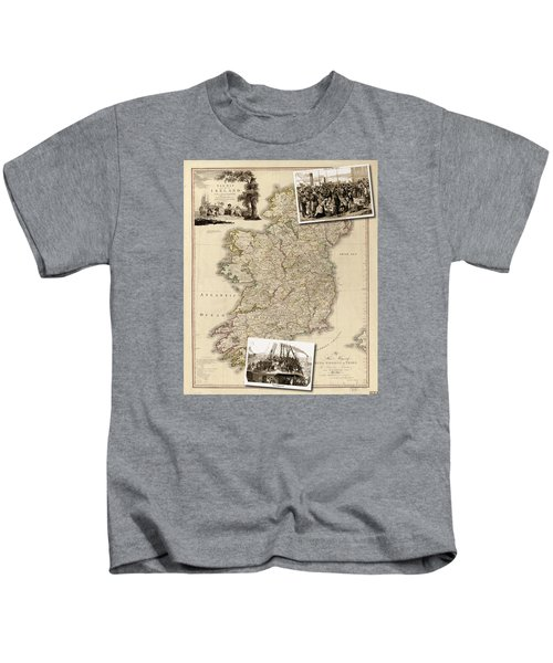 Vintage Map Of Ireland With Old Irish Woodcuts Kids T-Shirt