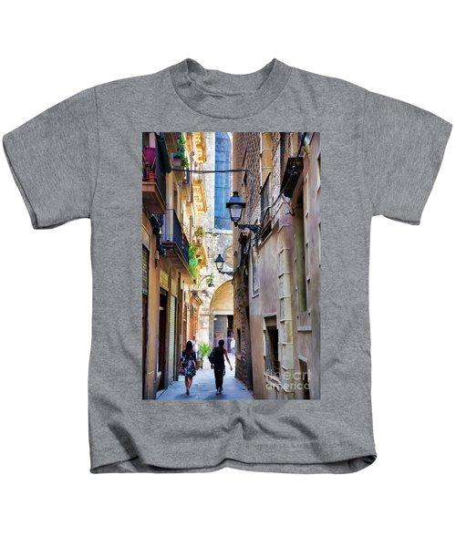 Old Town La Rambia Barcelona  Kids T-Shirt