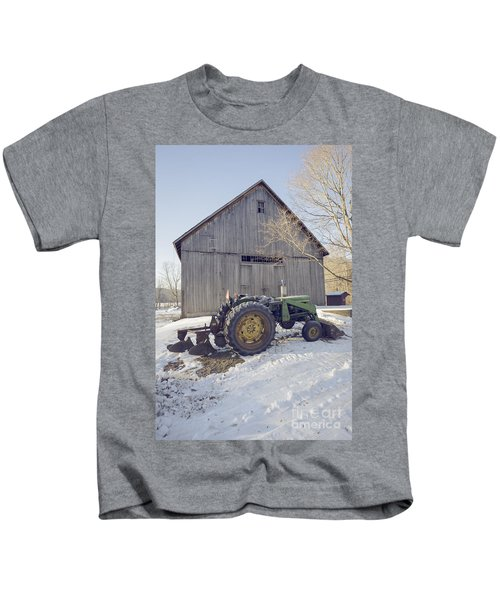 Old Tractor By The Barn Winter Etna Kids T-Shirt
