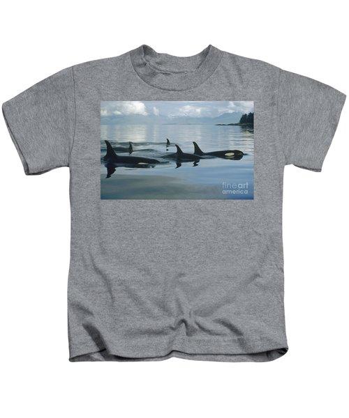 Orca Pod Johnstone Strait Canada Kids T-Shirt