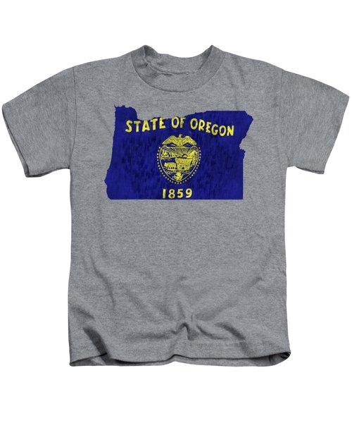Oregon Map Art With Flag Design Kids T-Shirt