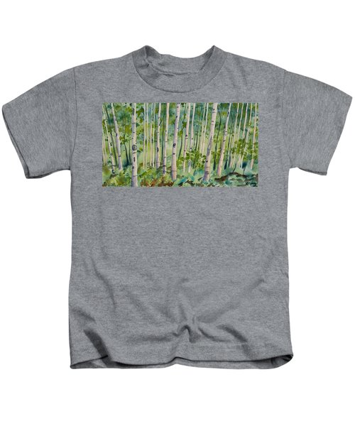 Original Watercolor - Summer Aspen Forest Kids T-Shirt
