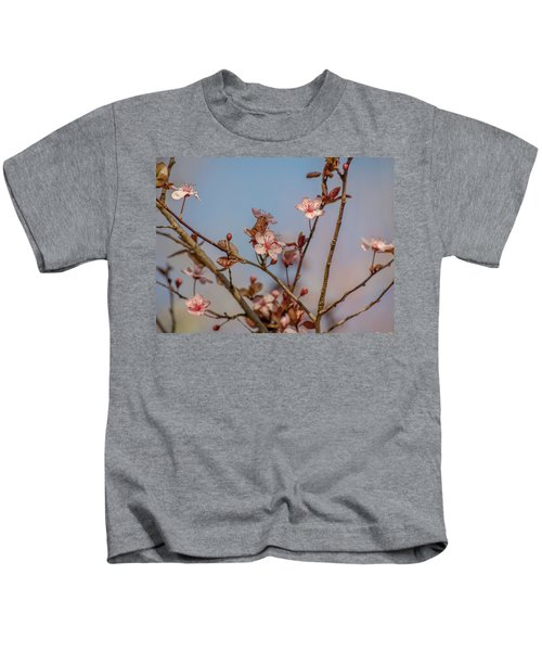 Purple Leaf Sandcherry Blossoms Kids T-Shirt