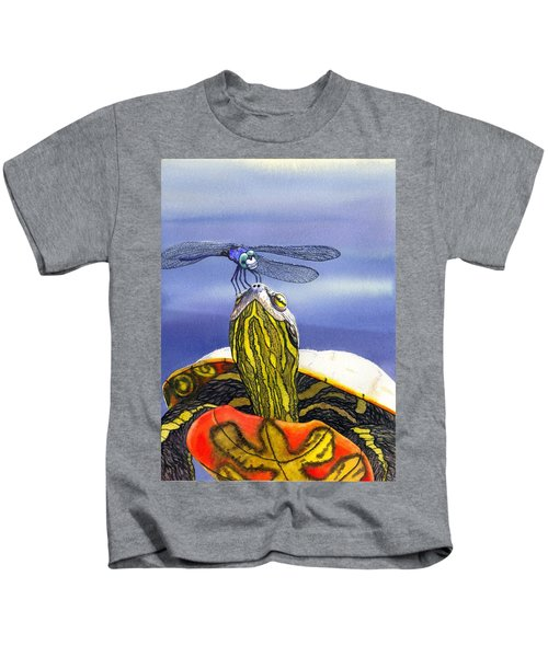 Painted Turtle And Dragonfly Kids T-Shirt