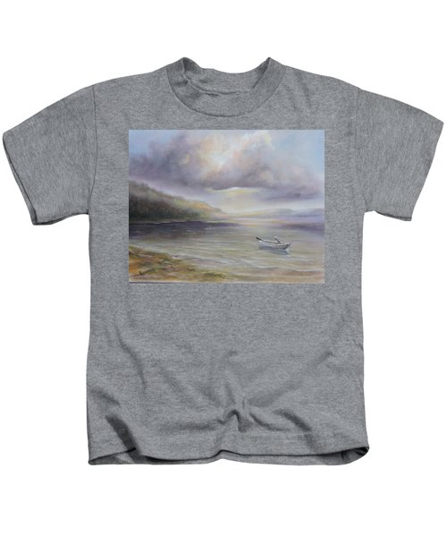 Beach By Sruce Run Lake In New Jersey At Sunrise With A Boat Kids T-Shirt