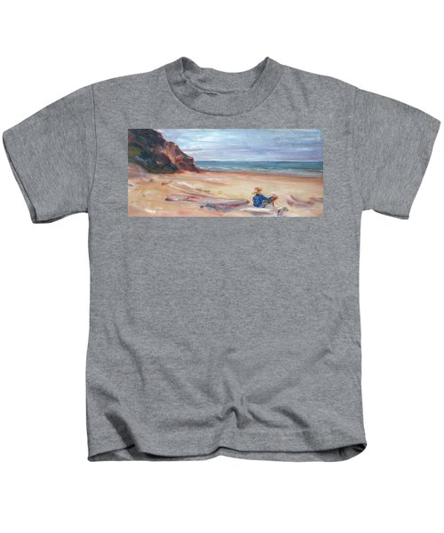 Painting The Coast - Scenic Landscape With Figure Kids T-Shirt
