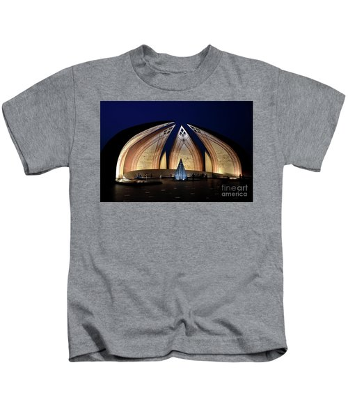 Pakistan Monument Illuminated At Night Islamabad Pakistan Kids T-Shirt