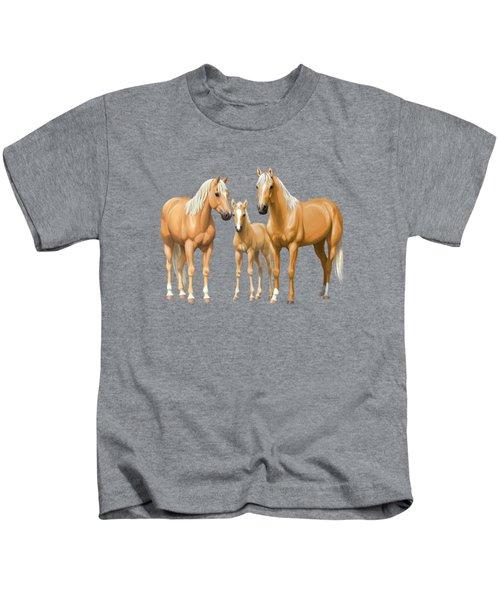 Palomino Horses In Winter Pasture Kids T-Shirt