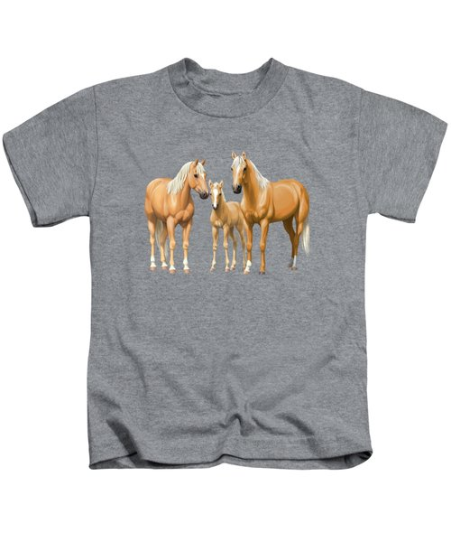 Palomino Horses In Winter Pasture Kids T-Shirt