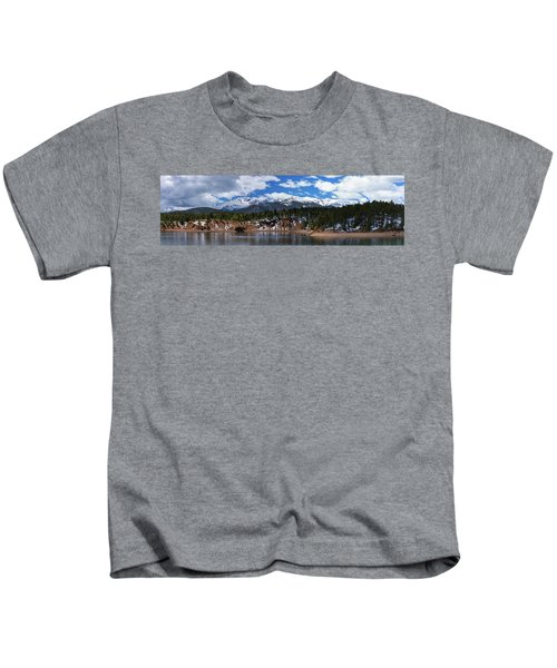 Panorama Of South Catamount Reservoir With Pike's Peak Covered I Kids T-Shirt